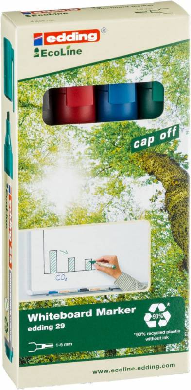 Image of   Whiteboardmarker edding 29 EcoLine ass. 1-5mm skrå spids 4stk/sæt