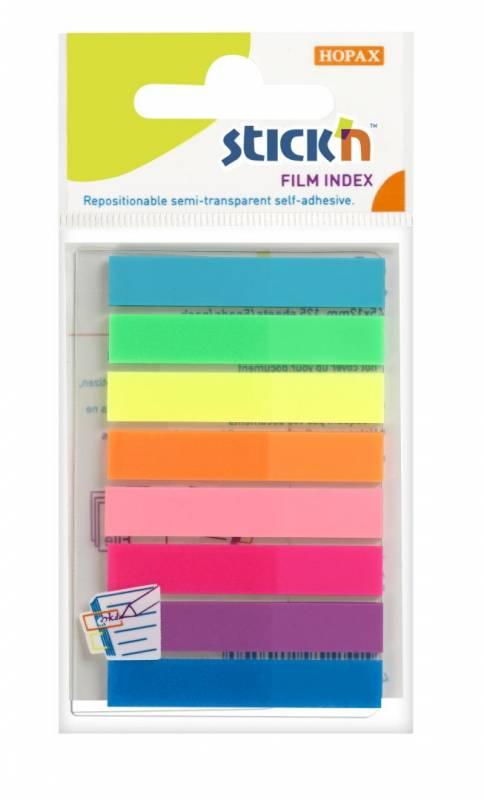 Indeksfaner StickN PP 8 ass. neon farver 45x8mm 8x20stk/pak