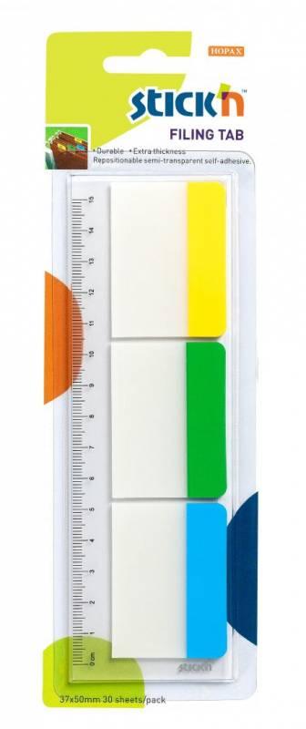 Registerfaner StickN kraftig rød/gul/grøn 37x50mm 3x10ark/pak m/lineal