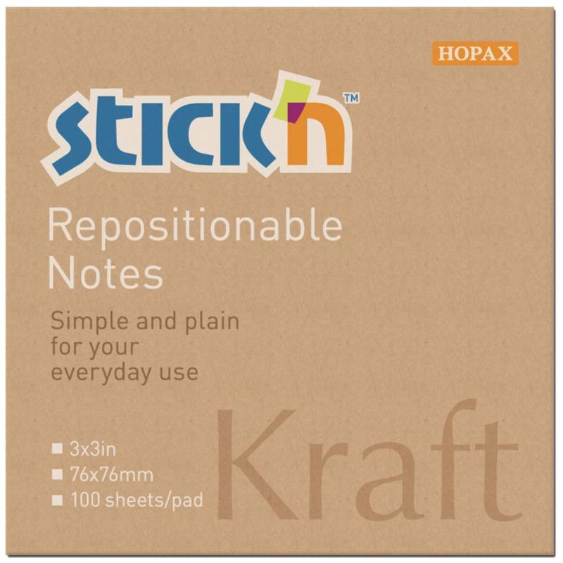 Image of   Notes Stick'N Kraftblock brun 76x76mm 100blade genbrug