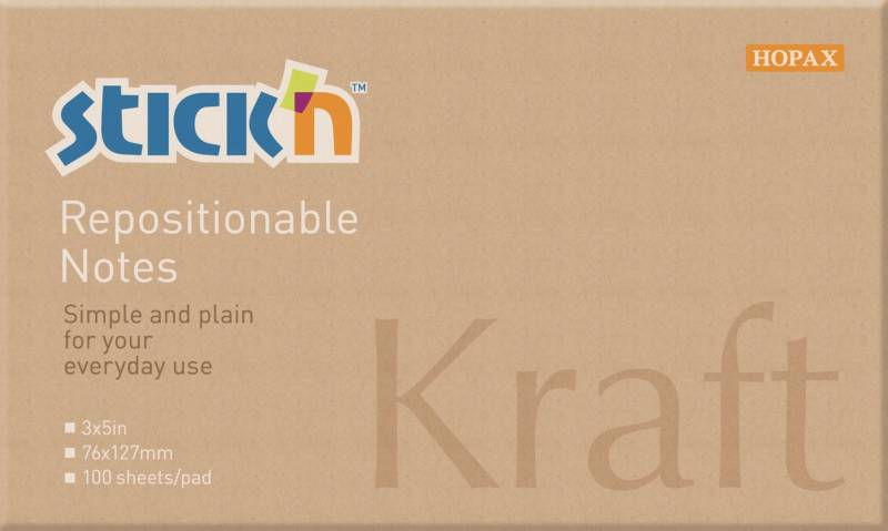 Image of   Notes Stick'N Kraftblock brun 76x127mm 100blade genbrug