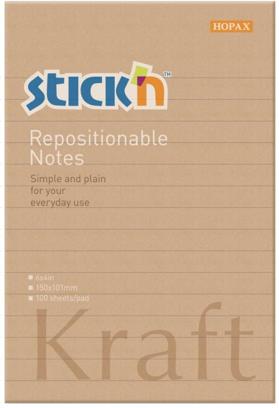 Image of   Notes Stick'N Kraftblock brun 150x101mm m/linier 100blade genbrug