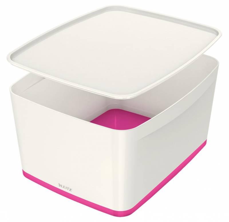 Image of   Opbevaringsboks Leitz MyBox large med låg hvid/pink