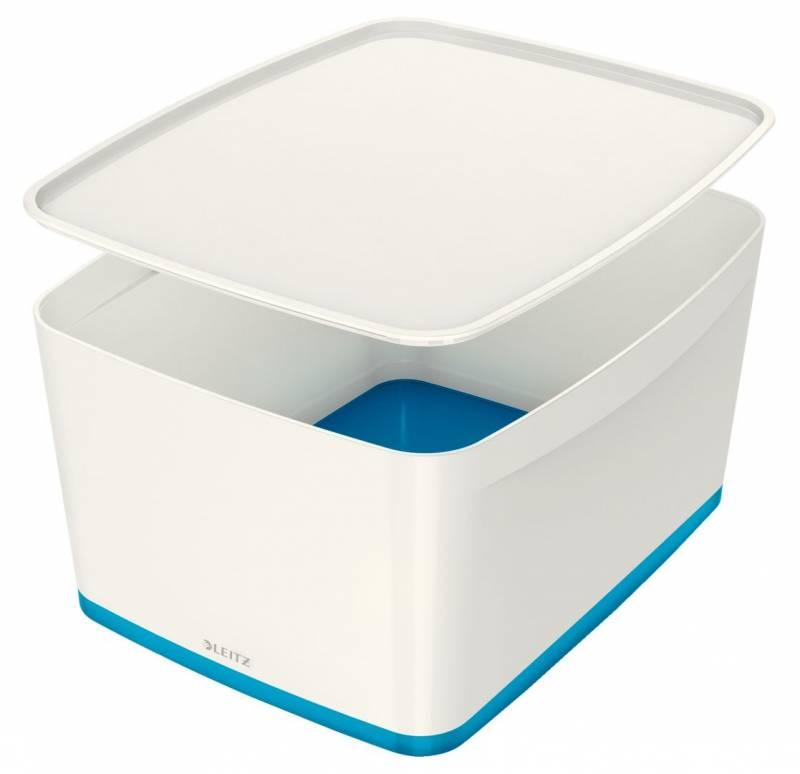 Image of   Opbevaringsboks Leitz MyBox large med låg hvid/blå
