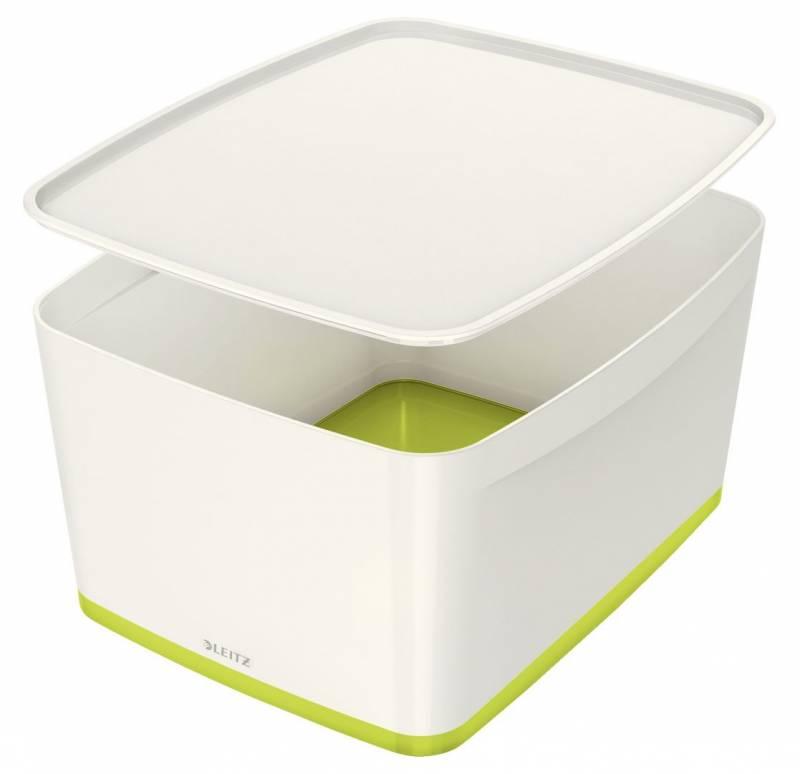 Image of   Opbevaringsboks Leitz MyBox large med låg hvid/grøn