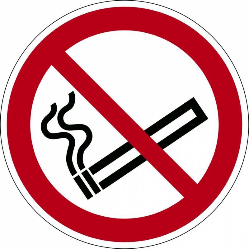 Image of   Advarselsklistermærke Rygning forbudt Ø43cm 0,4mm hvid/rød
