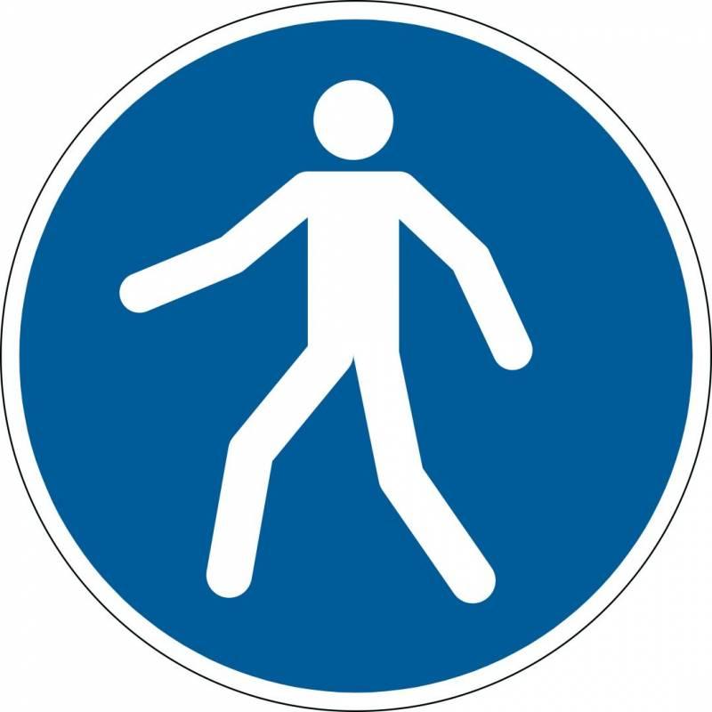 Advarselsklistermærke Tilladt for gående Ø43cm 0,4mm blå/hvid