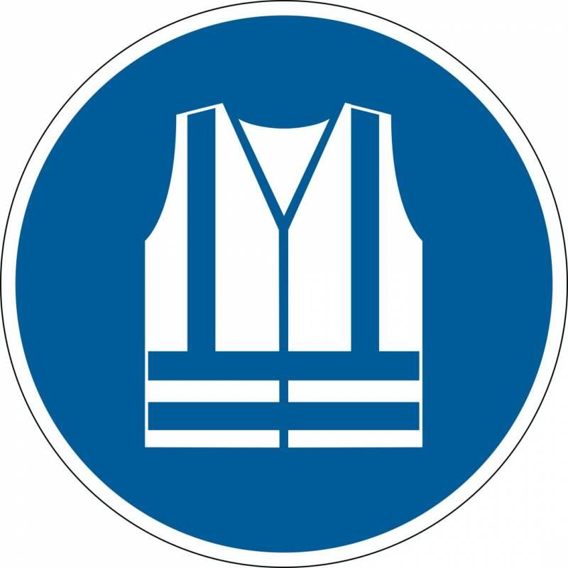 Image of   Advarselsklistermærke Anvend sikkerhedsvest Ø43cm 0,4mm blå/hvid