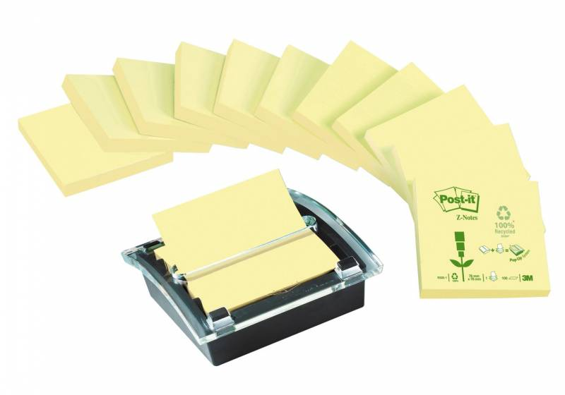 Image of   Z-notes Post-it gul recycled 12blk + 1 Millenium dispenser