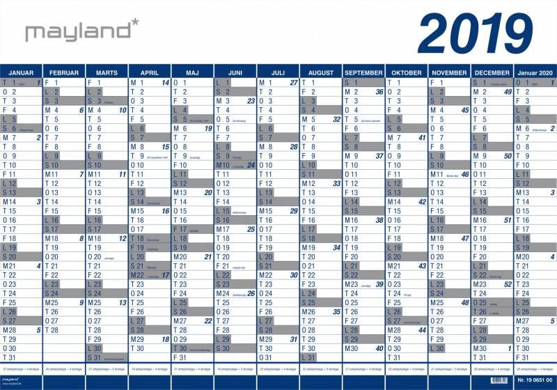 Kæmpekalender 2019 1x13mdr. PP 100x70cm 19 0651 00