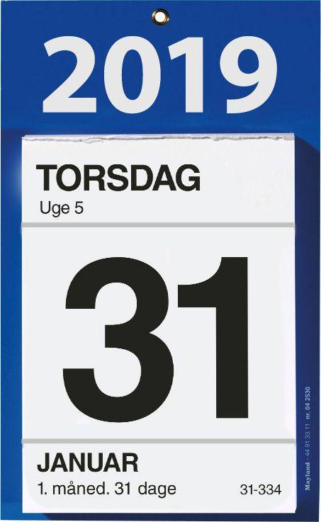 Kontorafrivningskalender m/bagsidetekst 11,5x16cm 19 2530 00
