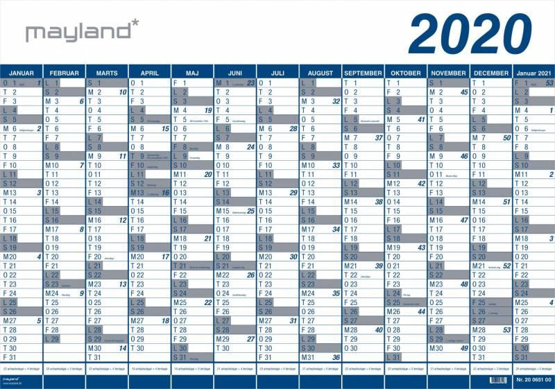 Billede af Kæmpekalender 2020 1x13mdr. PP rør 100x70cm 20 0650 00