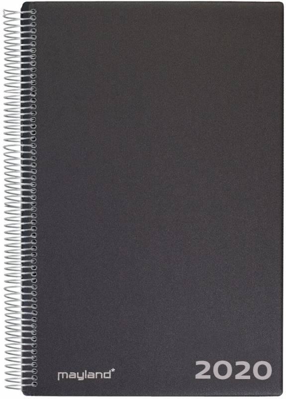 Aftalekalender 2020 A4 hård PP sort 21x30cm 1dag/side 20 2200 00