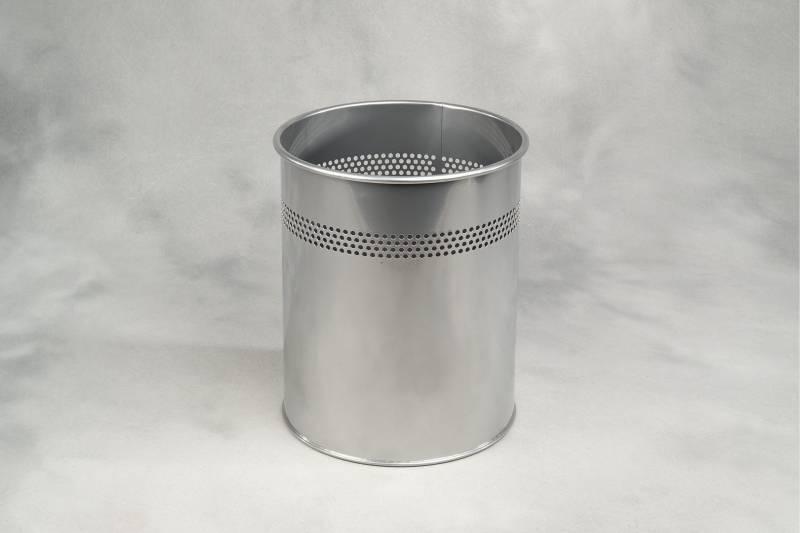 Billede af Papirkurv m/huller sølvmetal 15l højde 320mm dia. Ø260mm