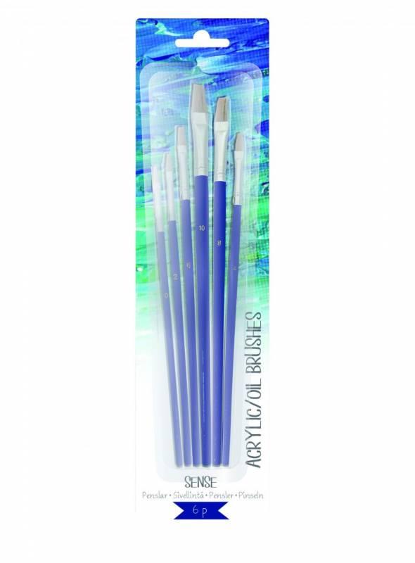 Image of   Akryl/olie pensler Sense Artist 6stk på kort ass. størrelser