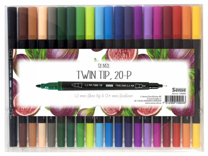 Image of   Twin pens Sense 0,4mm/1,2mm ass. 20 stk