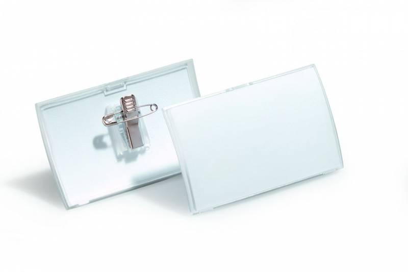 Image of   Navneskilt CLICK FOLD m/nål og klemme 54x90mm