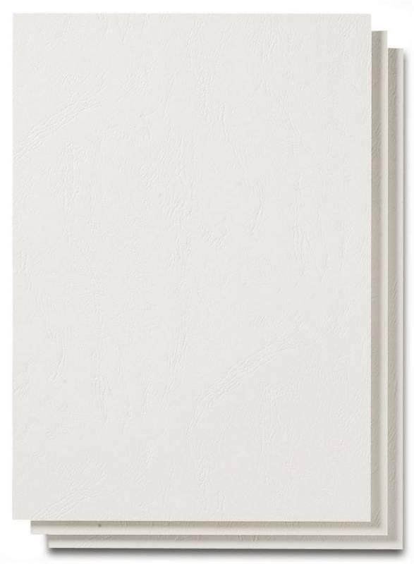 Image of   Bagside til indbinding Fellowes læderpræg hvid A4 250g 100stk/pak