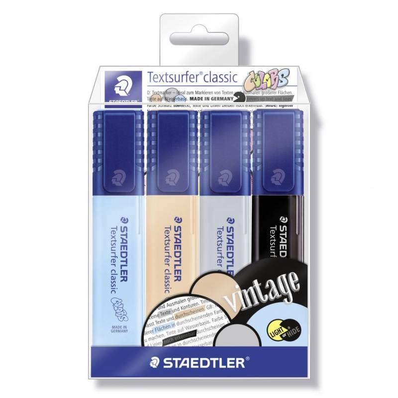 Image of   Tekstmarker STAEDTLER 364 ass. vintage 4stk i etui Textsurfer Classic