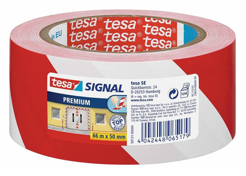 Image of   Tape tesa advarselstape PVC 50mmx66m rød/hvid