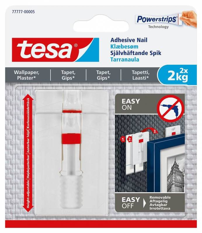 Image of   Klæbesøm tesa t/tapet og gips justerbar 2kg 2stk/pak