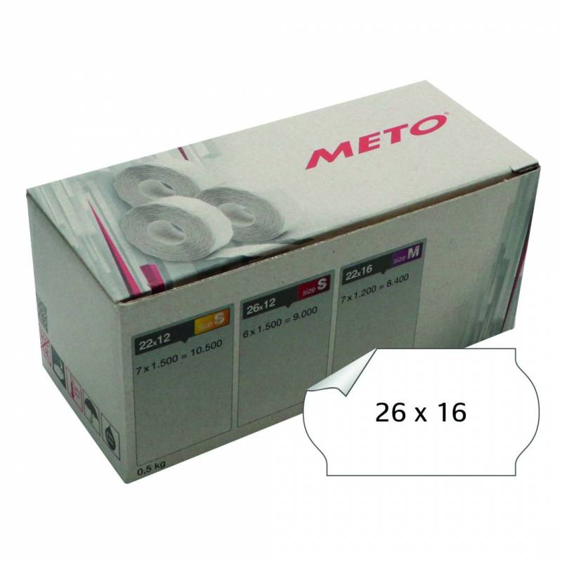 Image of   Prisetiket Meto 26x16mm hvid nonperm. lim 1 1200stk/rul
