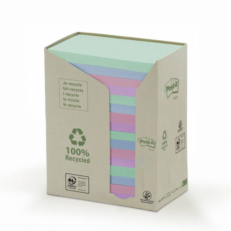 Image of   Post-it notes genbrug 76x127mm regnbuefarvet 16blk/pak