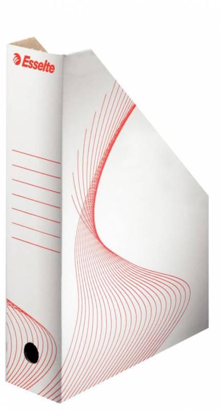 Billede af Tidsskriftkassette pap Esselte A4 hvid m/rødt tryk 305x230mm