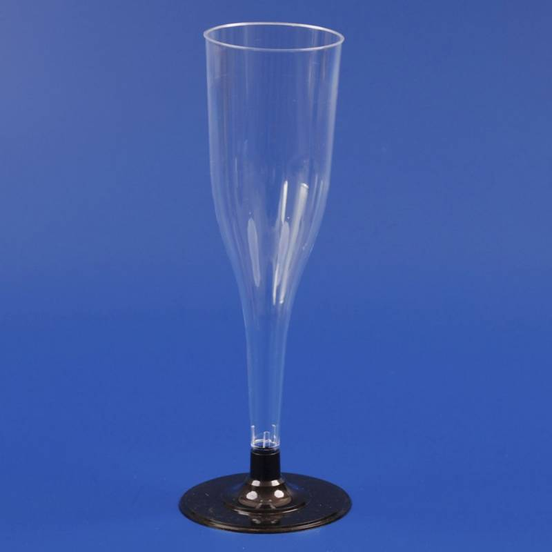 Billede af Plastikglas champagne sort fod 1174 13cl 12stk/ps