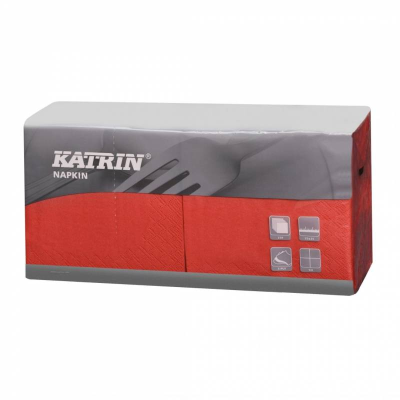 Billede af Servietter Katrin 1/4 Fold 3-la rød 25cm 4x250stk 113167
