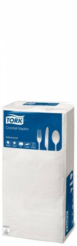 Image of   Servietter Tork 2-lags hvid 24cm 12x200stk/kar