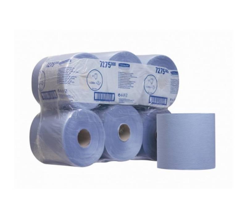 Aftørringspapir centerfeed blå 300m 6rul/kar 7275