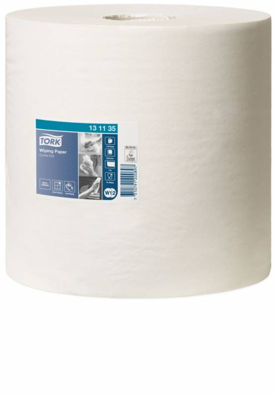Aftørringspapir Tork Standard W1 1-lags hvid 460m 131135 2rul