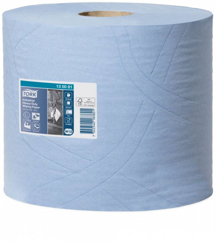 Aftørringspapir Tork E.Kraftig W1-2 3-lag blå 119m 130081 2rl