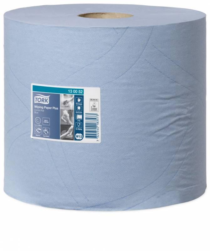 Aftørringspapir Tork Plus W1 2-lags blå 255m 130052 2rl