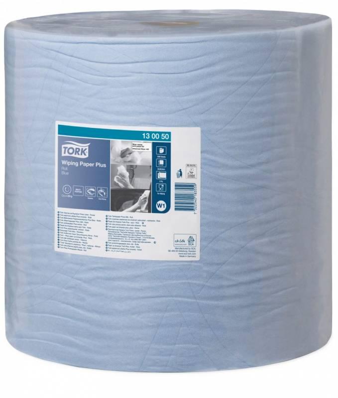 Aftørringspapir Tork Plus W1 2-lags blå 510m 130050 1rl