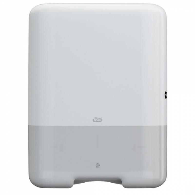 Image of   Dispenser Tork H3 hvid t/papirh. single&C-fold 553000