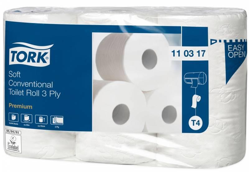 Image of   Toiletpapir Tork Premium T4 3-lag Soft 35m 110317 42rul/kar