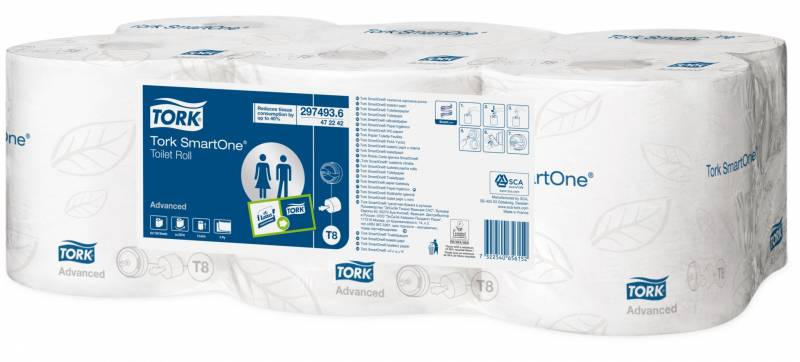 Image of   Toiletpapir Tork SmartOne T8 Advanced 2-lag 6rul/kar