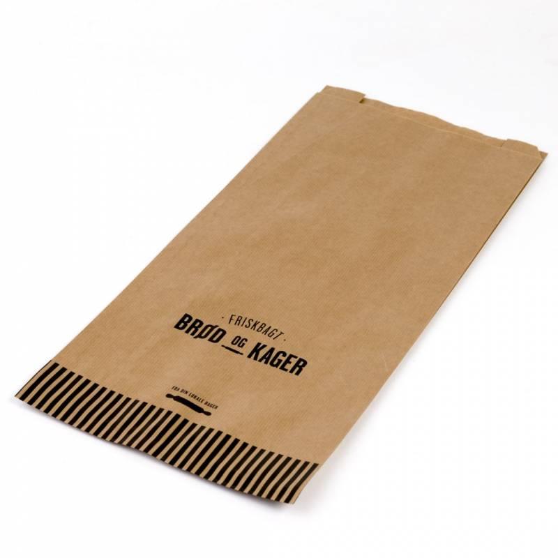 Image of   Bagerpose m/sidefals stor brun Friskbagt brød og kager 500stk