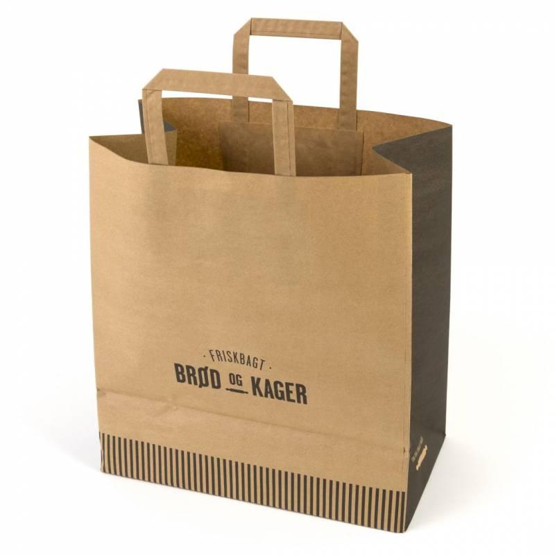 Image of   Papirsbærepose 250stk/pak 22l Friskbagt brød og kager