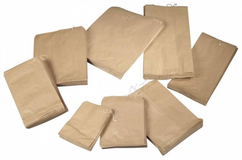 Image of   Papirpose m/snor 3kg 50g brun 300x375mm 500stk/pak