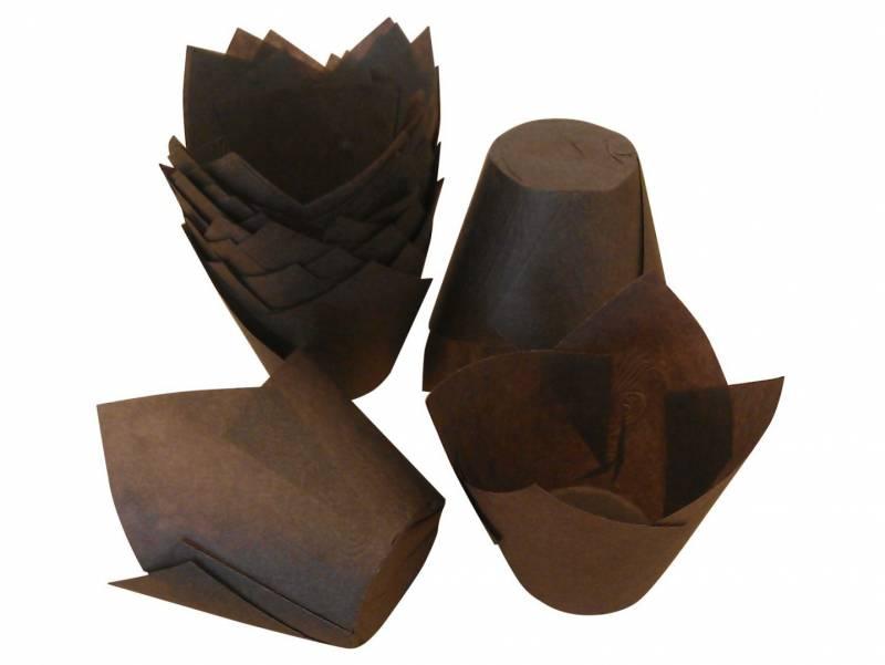 Image of   Tulipan kapsel 50g pergament mørkebrun 160x160mm 600stk/pk