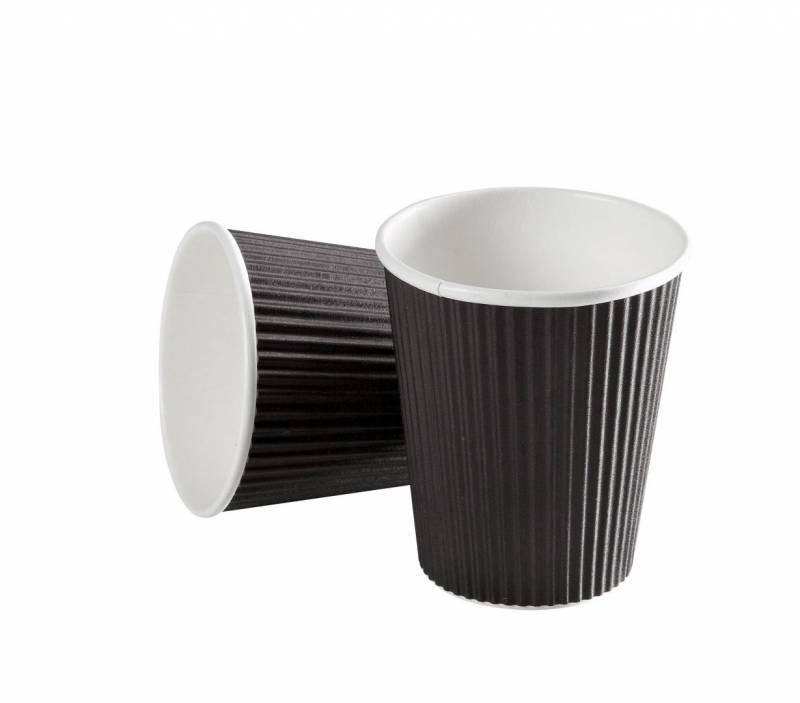 Image of   Kaffebæger Espresso 4oz Black line ripple wall pap 960stk/kar