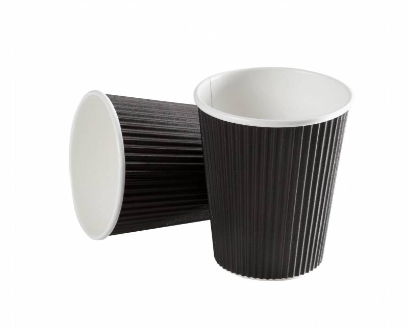 Image of   Kaffebæger 12oz 34cl Black line ripple wall pap 600stk/kar