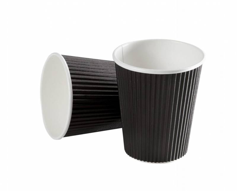 Image of   Kaffebæger 16oz 45cl Black line ripple wall pap 600stk/kar