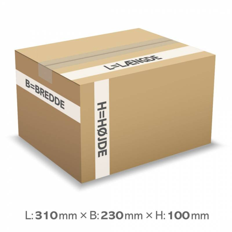 Image of   Bølgepapkasse 310x230x100mm 1262 (A4) - 7L - 3mm