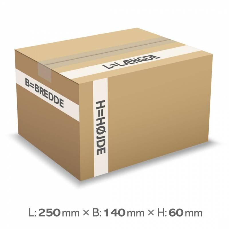 Image of   Bølgepapkasse 250x140x60mm 7020 - 2L - 3mm
