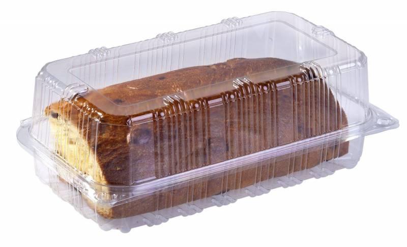 Image of   Plastbakke m/hængslet låg høj, kageæske 250x140x105mm 360stk
