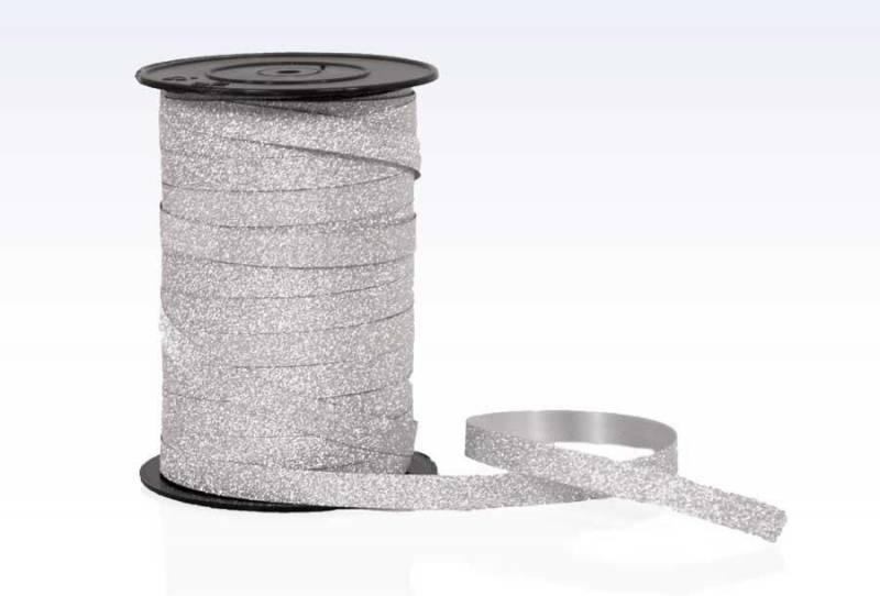 Billede af Gavebånd glitter sølv 10mmx100m nr. 05